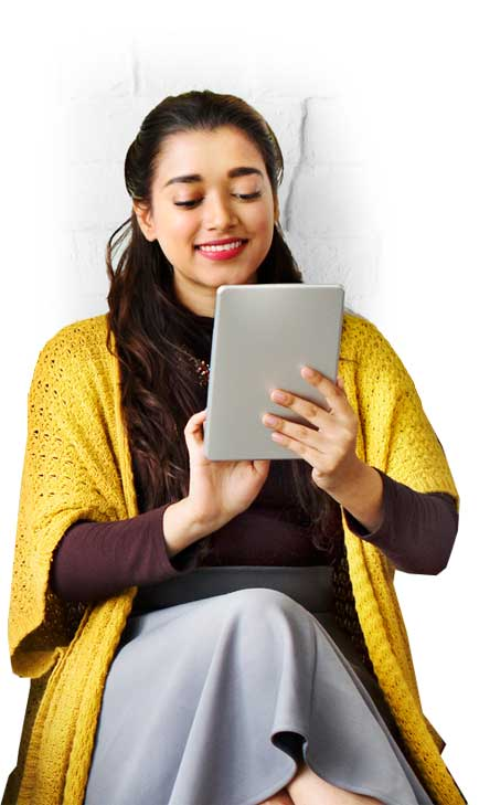 Young woman agent with a tablet